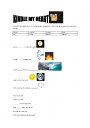 English Worksheet: Kindle my heart - A little princess soundtrack