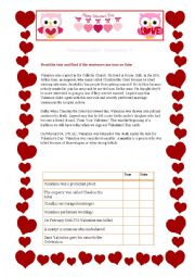 St Valentine´s day reading comprehension and vocabulary
