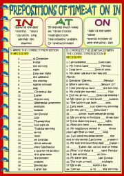 English Worksheet: Time prepositions at on in with key