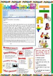 English Worksheet: An e-mail from Delhi. Reading and semi-guided writing.
