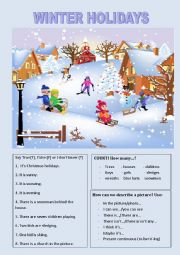 English Worksheet: Describing a picture - winter holidays