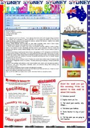 English Worksheet: An e-mail from Sydney.