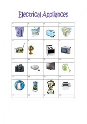 English Worksheet: Electrical Appliances