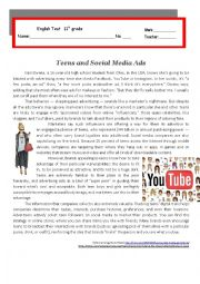 English Worksheet: Test - Teenagers and Social Media Ads