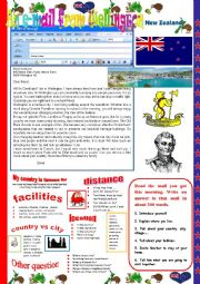 English Worksheet: An e-mail from Wellington.