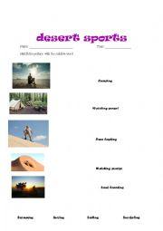English worksheet: desert sport matching