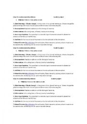 English worksheet: Ideas for project about environmental problems