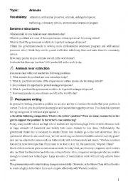 English Worksheet: Persuasive writing.................. Endangered Animals