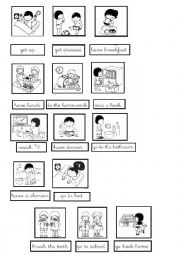 English Worksheet: board game daily routines