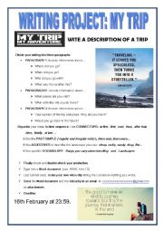 English Worksheet: WRITING PROJECT: MY TRIP