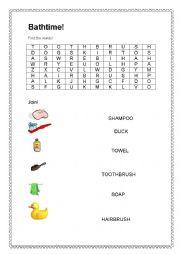 English worksheet: Bath time