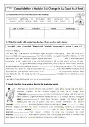 English worksheet: Module 3 consolidation (third form)