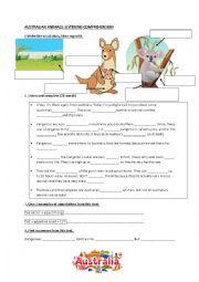 English worksheet: Australian animals listening