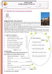 English worksheet: Reading, Language and Writing Test