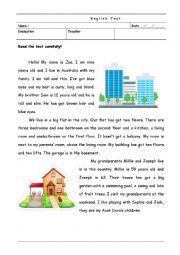 English test - reading comprehension