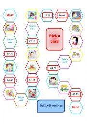 English Worksheet: Board Game for daily routines