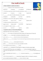 English Worksheet: Our world of work