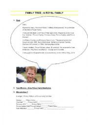 English Worksheet: Family tree : a royal family