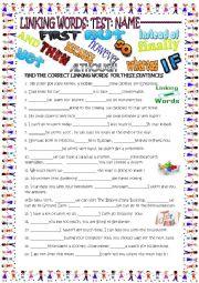 English Worksheet: linking words test with key