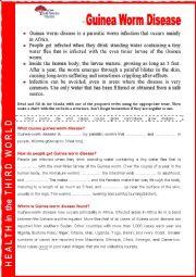 Guinea worm disease.  Reading. Cloze + key