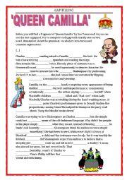 English Worksheet: QUEEN CAMILLA - GAP FILLING - FCE, CAE - REVISION