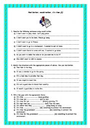 English Worksheet: Would rather worksheet