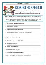 English Worksheet: GRAMMAR REVISION - REPORTED SPEECH - REPORTING VERBS - EXERCISES