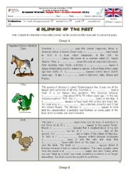 English worksheet: Past Simple - Extinct Animals