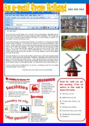 English Worksheet: An e-mail from Holland.