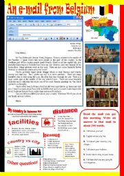 English Worksheet: An e-mail from Belgium.