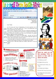 English Worksheet: An e-mail from South Africa.