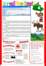 English Worksheet: An e-mail from Canada.