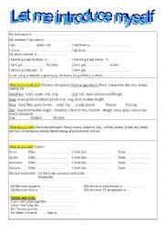 English Worksheet: Let me introduce myself