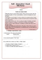 Full-semester 1 test 8th form