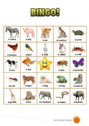 English Worksheet: Animals bingo