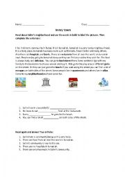 English worksheet: in my neighborhood