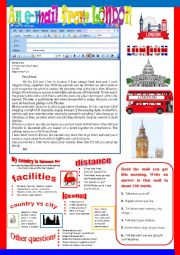 English Worksheet: An e-mail from London. Semi-guided writing