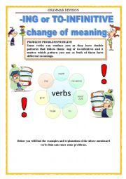 English Worksheet: GRAMMAR REVISION - ING or TO INFINITIVE (part 1)
