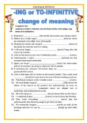 English Worksheet: GRAMMAR REVISION - ING or TO INFINITIVE (part 2)