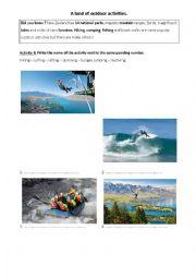 English Worksheet: New Zealand outdoor activities