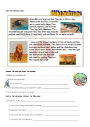 English Worksheet: READING ANIMALS