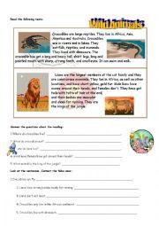English Worksheet: READING ANIMALS