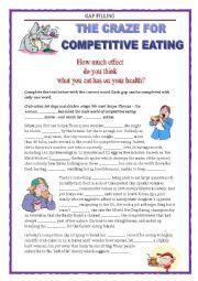 English Worksheet: COMPETITIVE EATING - GAP FILLING - FCE - GRAMMAR REVISION