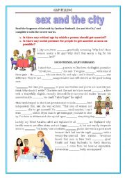 English Worksheet: Sex and the City - Gap filling - FCE, CAE - revision