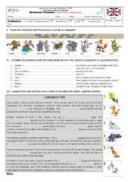 English worksheet: comparative and superlative adjectives