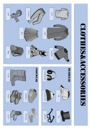 English Worksheet: vocabulary sheet clothes & accessories