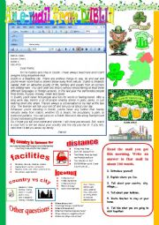 English Worksheet: An e-mail from Dublin. Reading and semi-guided writing.