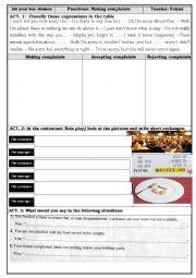English Worksheet: making complaints