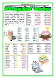 English Worksheet: GRAMMAR REVISION - irregular verbs