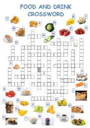 English Worksheet: Food and drink vocabulary crossword